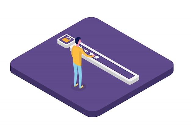 Dostęp do danych, koncepcja izometryczna hasła. formularz logowania na ekranie. ilustracja.