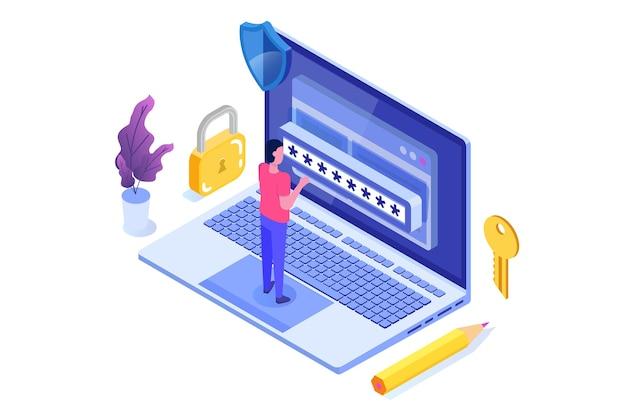 Dostęp do danych, koncepcja izometryczna hasła. formularz logowania na ekranie.