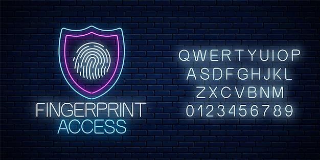 Dostęp do linii papilarnych świecące neonowy znak z alfabetem na tle ciemnego ceglanego muru. symbol bezpieczeństwa cybernetycznego z tarczą i odciskiem palca. ilustracja wektorowa.