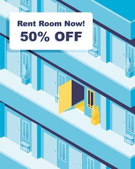 Dostępny pokój. wynajmij pokój teraz! baner promocyjny