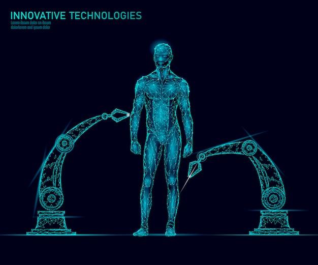 Dostosowanie anatomii ludzkiego ciała. inżynieria dna innowacja superman technologia. badania nad genomem zdrowie klonowanie medycyny low poly renderuje wielokątną wirtualną rzeczywistość