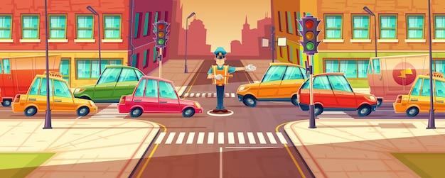 Dostosowanie skrzyżowań w mieście w godzinach szczytu, korek, transport w ruchu
