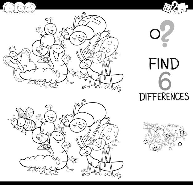 Dostrzec różnicę w książce kolorystycznej owadów