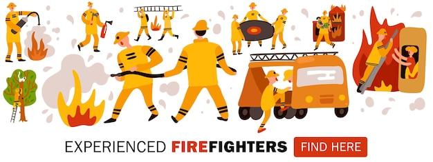 Doświadczeni strażacy podczas niebezpiecznej pracy nagłówka na stronie internetowej poziomej płaskiej ilustracji