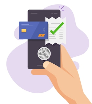 Dotknij technologii płatności faktury za pomocą identyfikatora linii papilarnych za pomocą karty kredytowej i smartfona z telefonem komórkowym