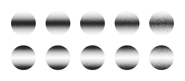Dotwork ręcznie rysowane kropkowane abstrakcyjne koła w różnych odmianach na białym tle