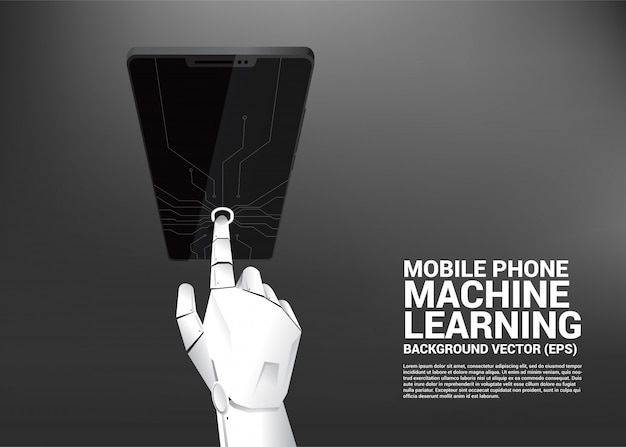 Dotyk robota na ekranie telefonu komórkowego