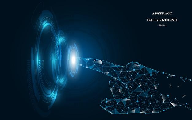 Dotykaj ręki przyszłościowy abstrakcjonistyczny innowaci tła pojęcie