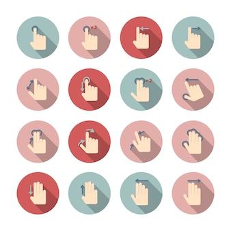 Dotykowe ekrany gestów ikony prowadzą zbiór piktogramów do projektowania aplikacji na białym tle ilustracji wektorowych