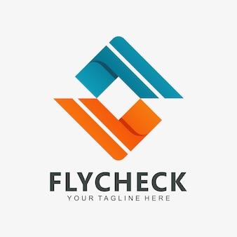 Double sprawdź ikonę nowoczesnego logo firmy, technologii i firmy cyfrowej