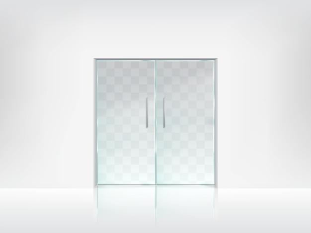 Double szklane drzwi przezroczystego wektora szablonu