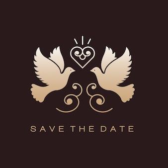 Doves birds gold wedding couple signs