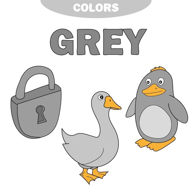 Dowiedz się koloru szarości - rzeczy, które są w kolorze szarym - kłódka, gęś, pingwin. zestaw edukacyjny. ilustracja kolorów podstawowych. ilustracja wektorowa