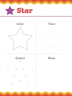 Dowiedz się kształtów i figur geometrycznych. arkusz ćwiczeń przedszkolnych lub przedszkolnych. ilustracji wektorowych