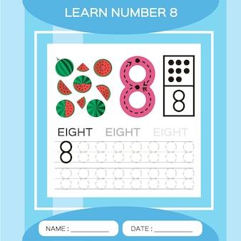 Dowiedz się numer 8. osiem. gra edukacyjna dla dzieci. prześledźmy numer 8 i napiszmy. gra liczenia.