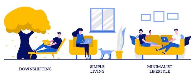 Downshifting, prosty styl życia, minimalistyczna koncepcja stylu życia z małymi ilustracjami ludzi