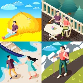Downshifting ucieczka od koncepcji stresu 4 izometryczne kompozycje z ludźmi cieszącymi się naturą podróżującą pracującą relaksującą na świeżym powietrzu