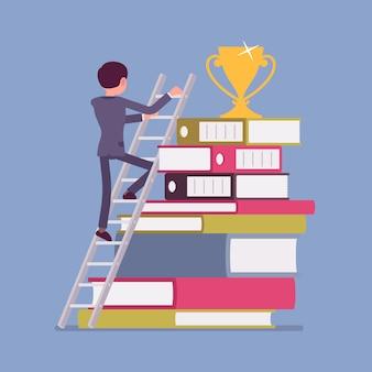 Drabina do sukcesu. biznesmen w drodze na szczyt, realizacja celu biznesowego, pozytywne rezultaty kariery zawodowej, imponująca nagroda za pracę lub naukę. ilustracja kreskówka styl