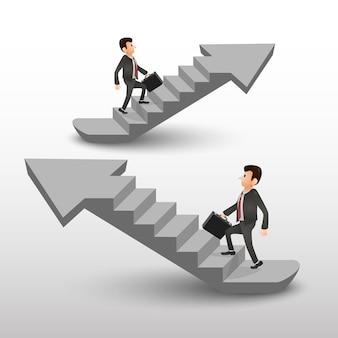 Drabina kariery ludzi biznesu. strzałka schodów . ilustracja wektorowa