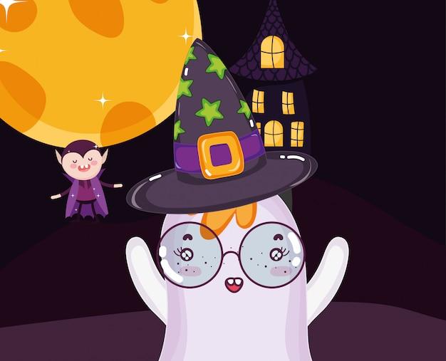 Dracula ghost and house halloween