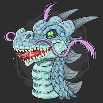 Dragon cute face vector