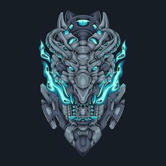 Dragon head fire cyberpunk