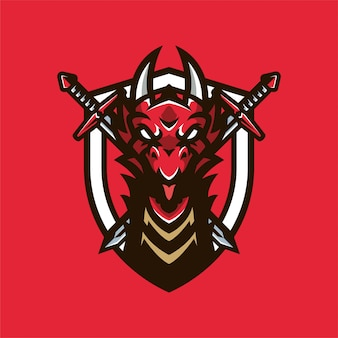 Dragon knight mascot head logo
