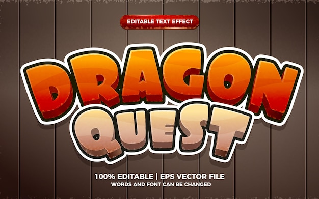 Dragon quest vintage 3d edytowalny efekt tekstowy w stylu szablonu gry kreskówki