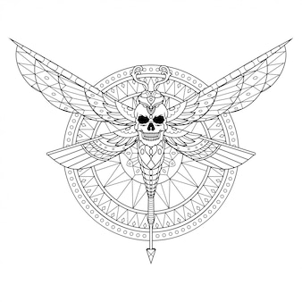 Dragonfly mandala zentangle ilustracja w stylu liniowym