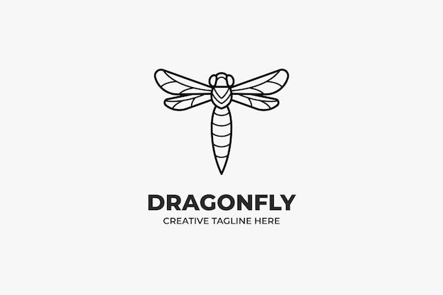 Dragonfly owad zwierząt monoline logo