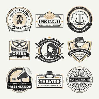 Dramatyczny teatr vintage zestaw etykiet na białym tle