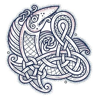 Drapieżna ryba, ornament skandynawski