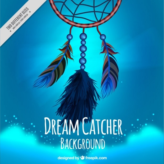 Dream catcher na niebieskim tle
