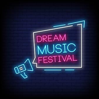 Dream music festival neonowe znaki styl tekst wektor