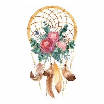 Dreamcatcher akwarela z kwiatami