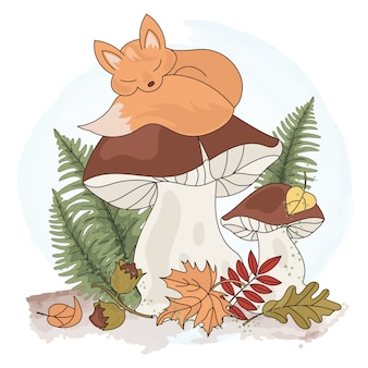 Dreaming fox cartoon forest animal