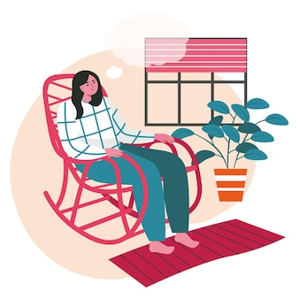 Dreaming koncepcja sceny ludzi. kobieta siedzi w bujanym fotelu i myśli z pustą bańką nad głową. działania ludzi wyobraźni i marzeń. ilustracja wektorowa postaci w płaskiej konstrukcji