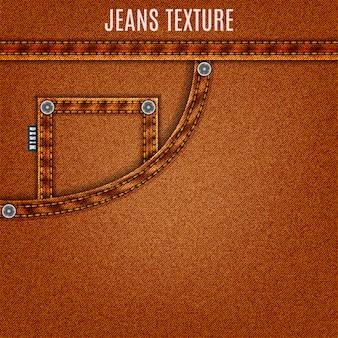 Drelich tło dżinsy brązowe tekstury z kieszenią