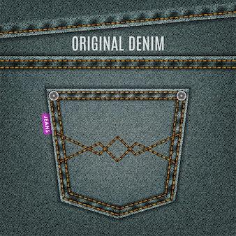 Drelich tło szare dżinsy tekstury z kieszeni