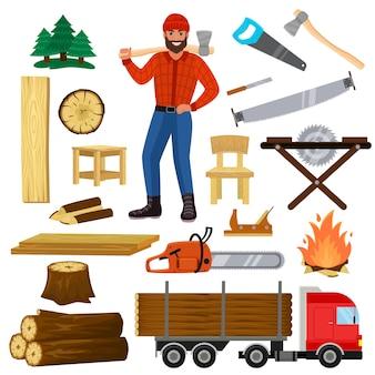 Drewna drwal postać i logger piły tarcicy lub twardego drewna zestaw drewnianych materiałów drewnianych w tartaku i drwal mężczyzna na białym tle