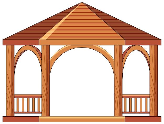 Drewniana altana na białym tle