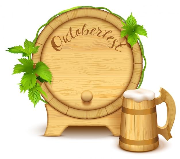 Drewniana beczka i pełny drewniany kufel do piwa. oktoberfest odręczny tekst