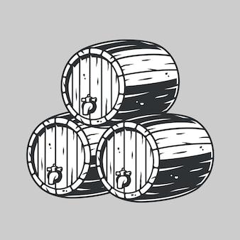 Drewniana beczka na piwo, wino whisky do menu barowego