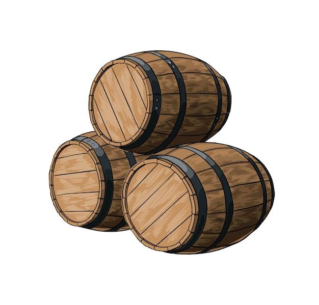 Drewniana beczka na wino lub inne napoje z odrobiną realistycznego rysunku w kolorze akwareli