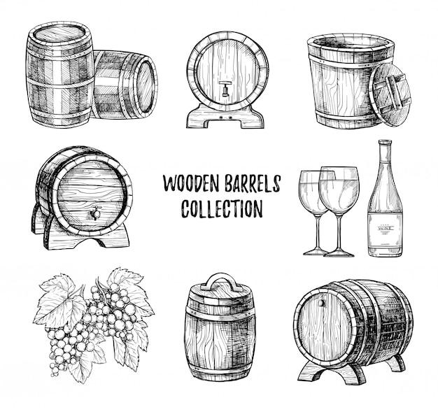 Drewniana beczka na wino ręcznie rysowane wektor zestaw