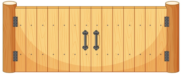 Drewniana brama ogrodzeniowa w stylu kreskówki na białym tle