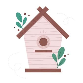Drewniana budka dla ptaków ptaszarnia ogrodowa do karmienia ptaków