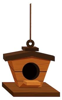 Drewniana budka dla ptaków wisząca na linie