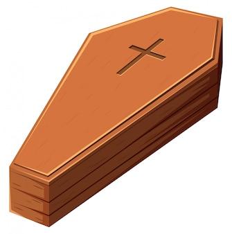 Drewniana cofin z krzyżem christain