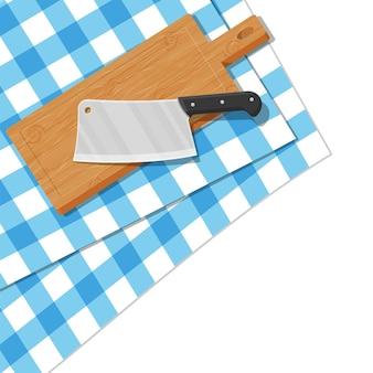 Drewniana deska do krojenia i nóż kuchenny. stół z obrusem. tasak rzeźniczy i deska do krojenia. naczynia, sztućce domowe. gotowanie, domowe przybory kuchenne. ilustracja wektorowa w stylu płaski